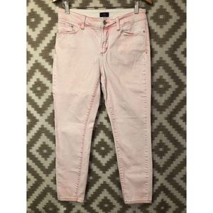 NYDJ Pink White Washed Skinny Ankle Jeans
